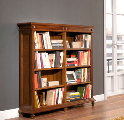 libreria clasica de madera de nogal español